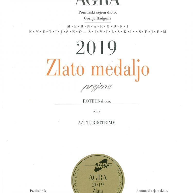 AGRA 2019 - Zlato za TURBOTRIMM
